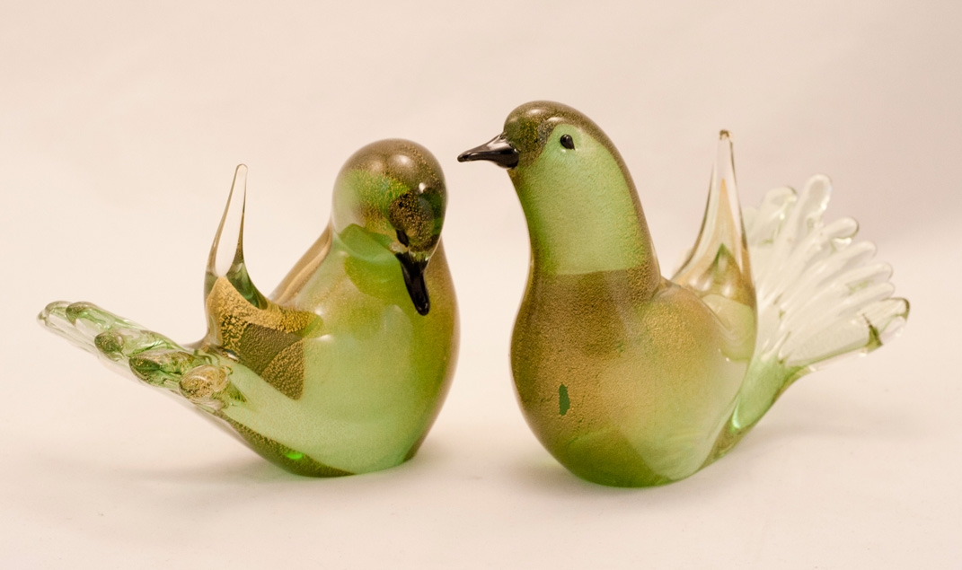 Murano Love Birds Green Golden Pair