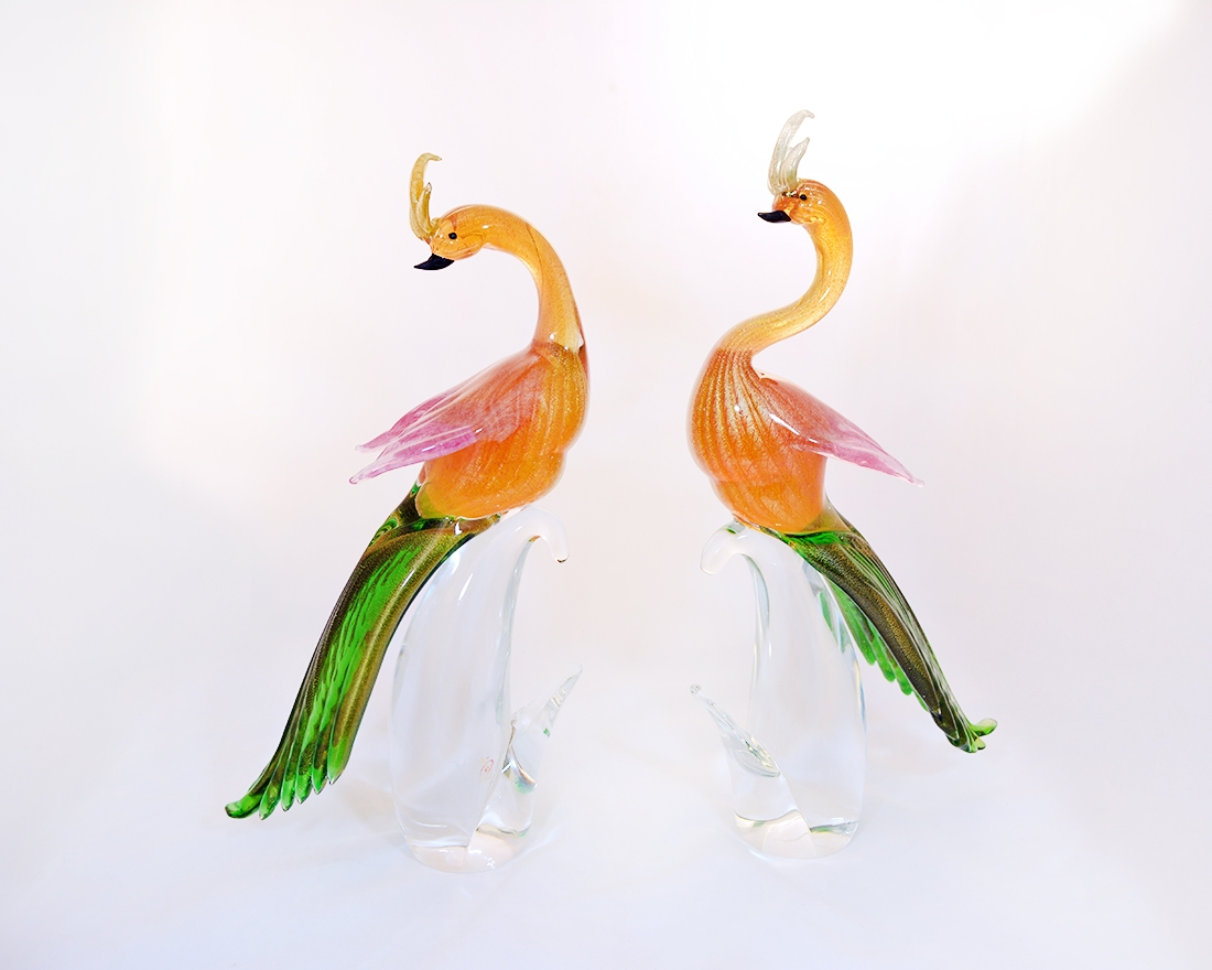 Peacock Pair Murano Glass
