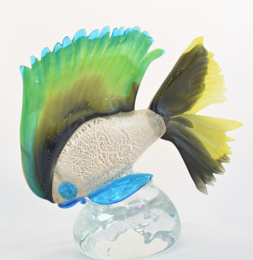 Silver, Tobacco and Yellow murano glass fish