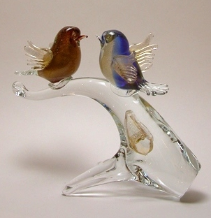 Two Birds sitting on the Branch Red/Blue/Gold Murano Glass