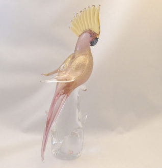 Murano parrot Golden Ruby Closed Wings