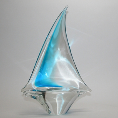 Aqua crystal Murano Glass Sailboat