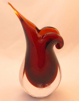Murano Glass Vase Ruby/Topaz