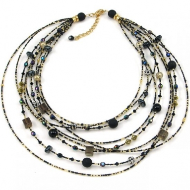 Murano Glass Watefall  Black Necklace