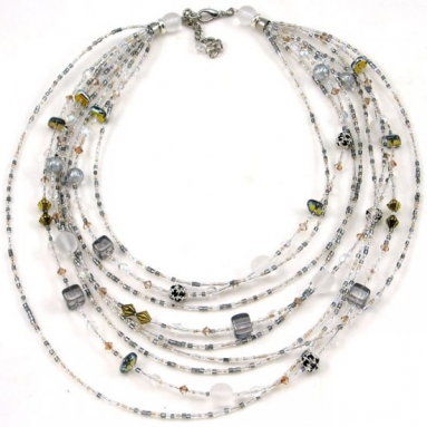 Murano Glass Watefall Necklace Silver