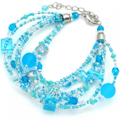 Murano Glass Waterfall Bracelet Turquoise