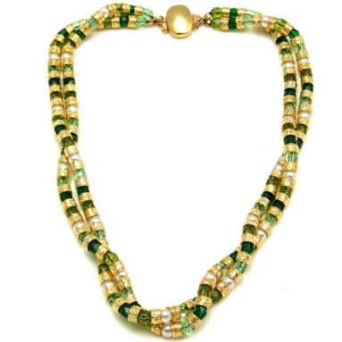 Multi Twist Necklace Green
