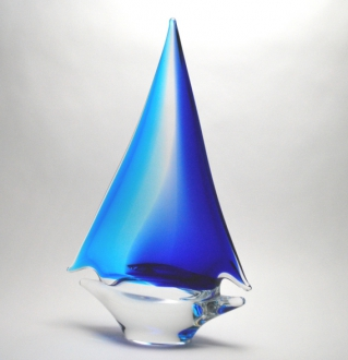 Aqua/Blue Sailboat Large