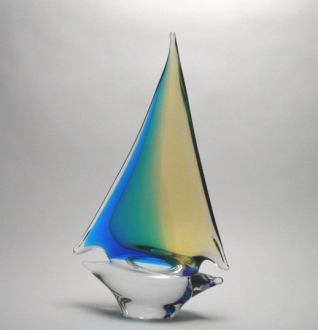 Aqua/Amber Sailboat Medium