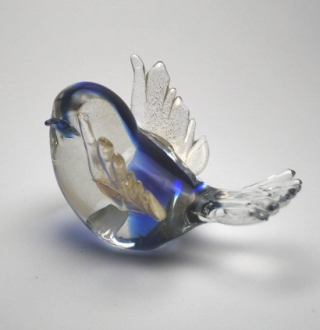 Blue, crystal clrear and gold  murano galss bird
