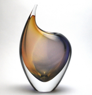 Murano art vase Lavender/Orange