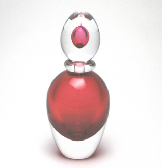 Sommerso Oval Burgundy Perfume Bottle Murano Glass