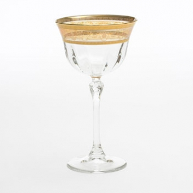 Set of Six Martini Glasses with Amber Gold Artwork