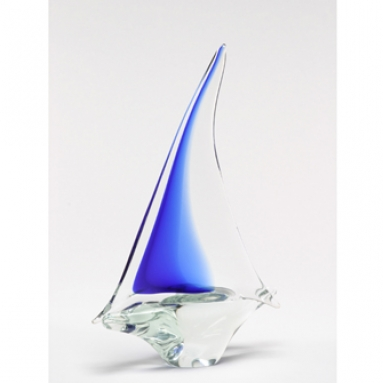 Murano Sailboat Large Blue/Clear
