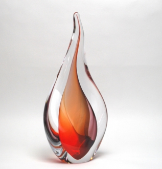 Abstract Red Murano Glass Sculpture