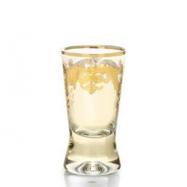 Set of Six Amber Colored Liqueur Glasses with Rich 24k Gold Artwork