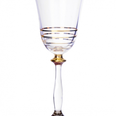 Set of Six Water Glasses with 14 karat Gold