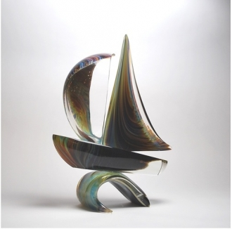 Murano Glass Sailboat on Wave Calcedonia