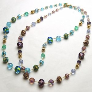 Murano Glass Bead Necklace Long