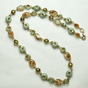 Murano Glass Necklace Long Green