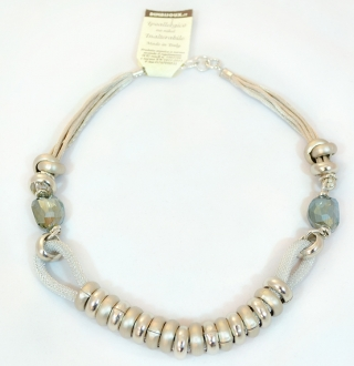 Anello Silverd finish Ring Murano Glass Necklace