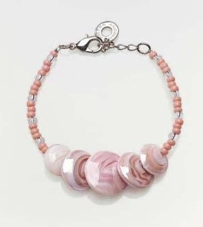 Magic Murano Glass Bracelet  Pink With Beads