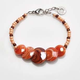 Magic Murano Glass Bracelet  Red With Beads