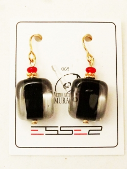 Murano Glass Earrings Black/Clear