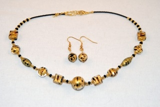 Cubes, oblongs and globes gold murano glass necklace and earrings set