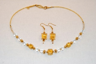 Gold murano glass cubes and globes necklace and earrings