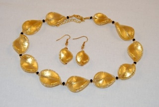 Gold murano glass large twists necklace and earrings