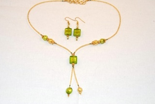 Lime murano glass square dangle necklace and earrings