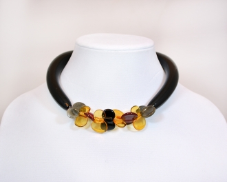Murano glass black and multicolors single butterfly necklace