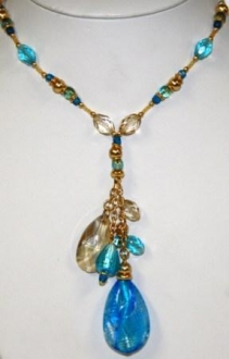 Murano Glass Necklace  Aqua
