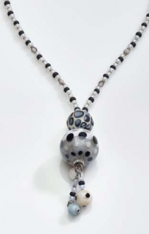 Amelia Murano Glass Necklace White/Black