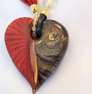 Red and Gold Murano Intaglio Glass Heart Necklace