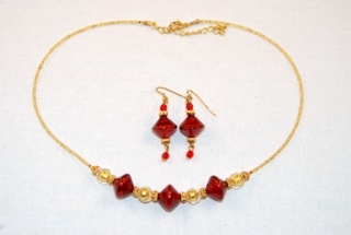 Red murano glass diamond and globe necklace and earrings