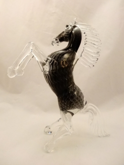 Murano Glass Smoky Grey Horse