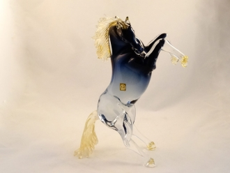 Zannetti Murano Glass Roaring horse Crystal blue gold