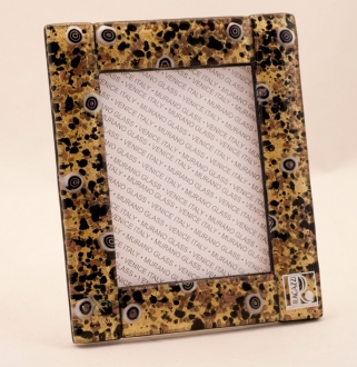 Murano Glass Murrine Glass Frame Gold/Black