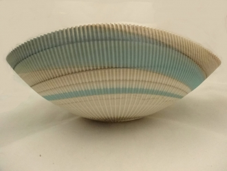 Murano glass Aqua and Ivory Shell bowl