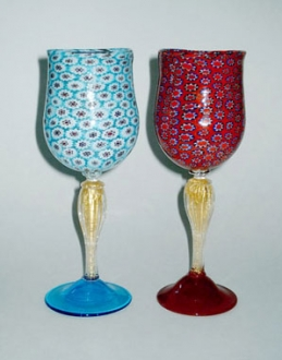 Murrina Goblet Light Blue/Red