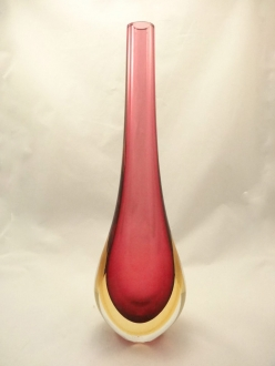 Murano Glass Ruby Amber Somerso Gocce Vase