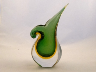 Murano Glass Emerald and Amber Mandoline Vase