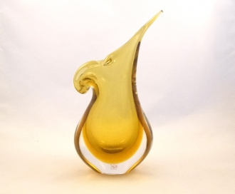 Murano Glass Gold and Crystal Mandolin Vase