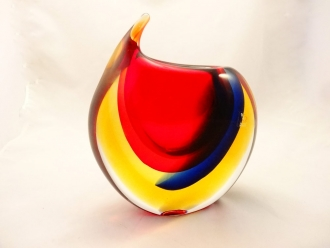 Murano Glass OBALL Red Amber blue crystal Sommerso vase