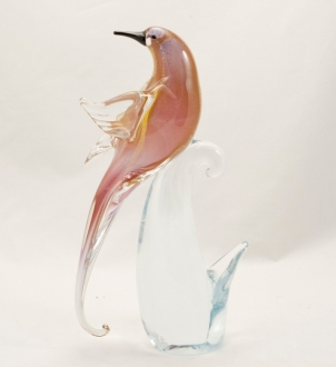 Bird Ruby/Gold Head Backward Murano Glass