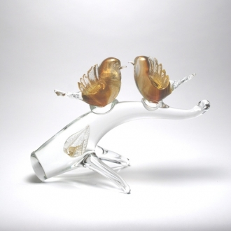 Murano Glass Two Birds on the Branch