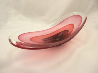 Murano Glass Centerpiece Plum/red/ruby  Sommerso Vase