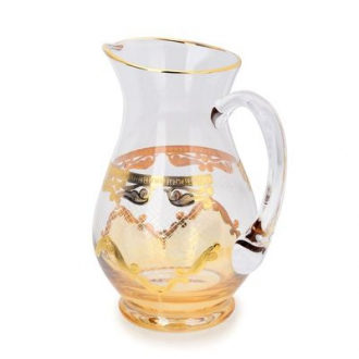 CJA139Pitcher Amber w Diamond Cuts 24k Gold Artwork